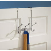 InterDesign York Lyra Over the Door Organizer Hooks for Coats, Hats, Robes, Towels, 3 Hooks, Chrome