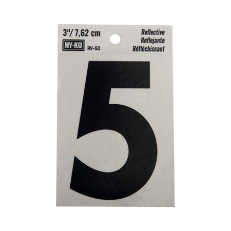 Hy-Ko 3 Reflective Vinyl Self-Adhesive Sticker Number 5