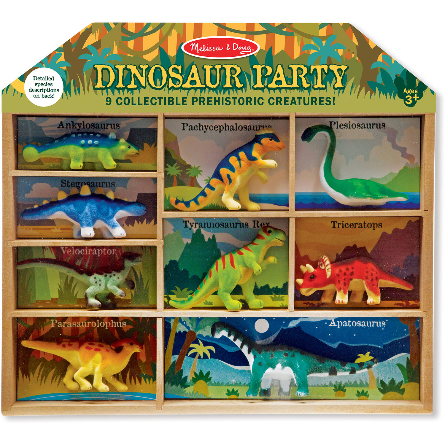 Melissa & Doug Dinosaur Party Play Set, 9 Collectible Miniature Dinosaurs in a Case