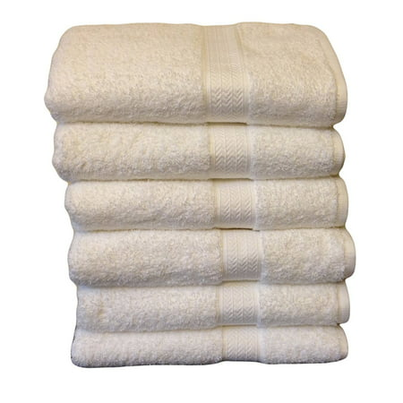Hospitality Bath Towels , 100% Cotton, 6 Pack, White, 6 large bath towels size 30 x 56 inches By Grandeur