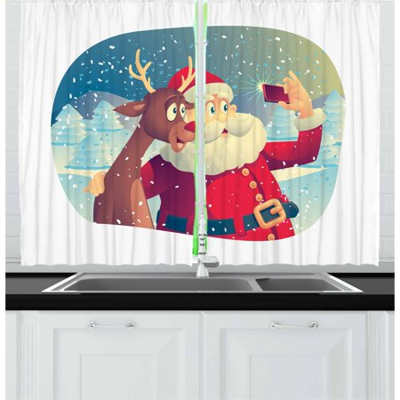 Santa Curtains 2 Panels Set, Best Friends Taking a Funny Christmas Selfie with Cellphone in a Snowy Winter Forest, Window Drapes for Living Room Bedroom, 55W X 39L Inches, Multicolor, by