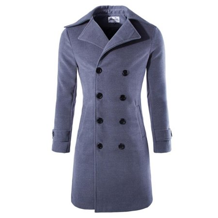 Men Peacoat Brown Trench Coat Turndown Collar Long Sleeve Double Breasted Long Coat Dark gray