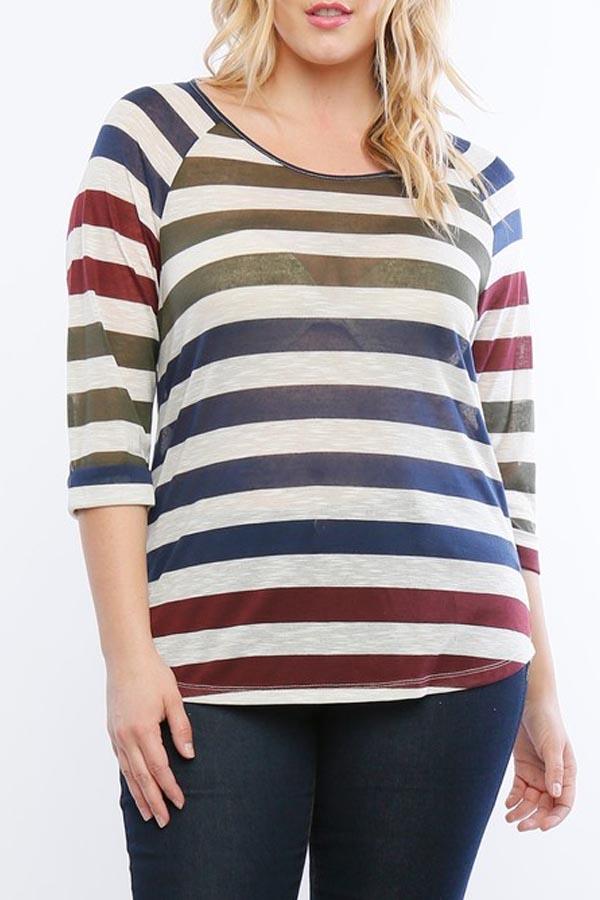PLUS SIZE Women's  trendy style  striped  top.