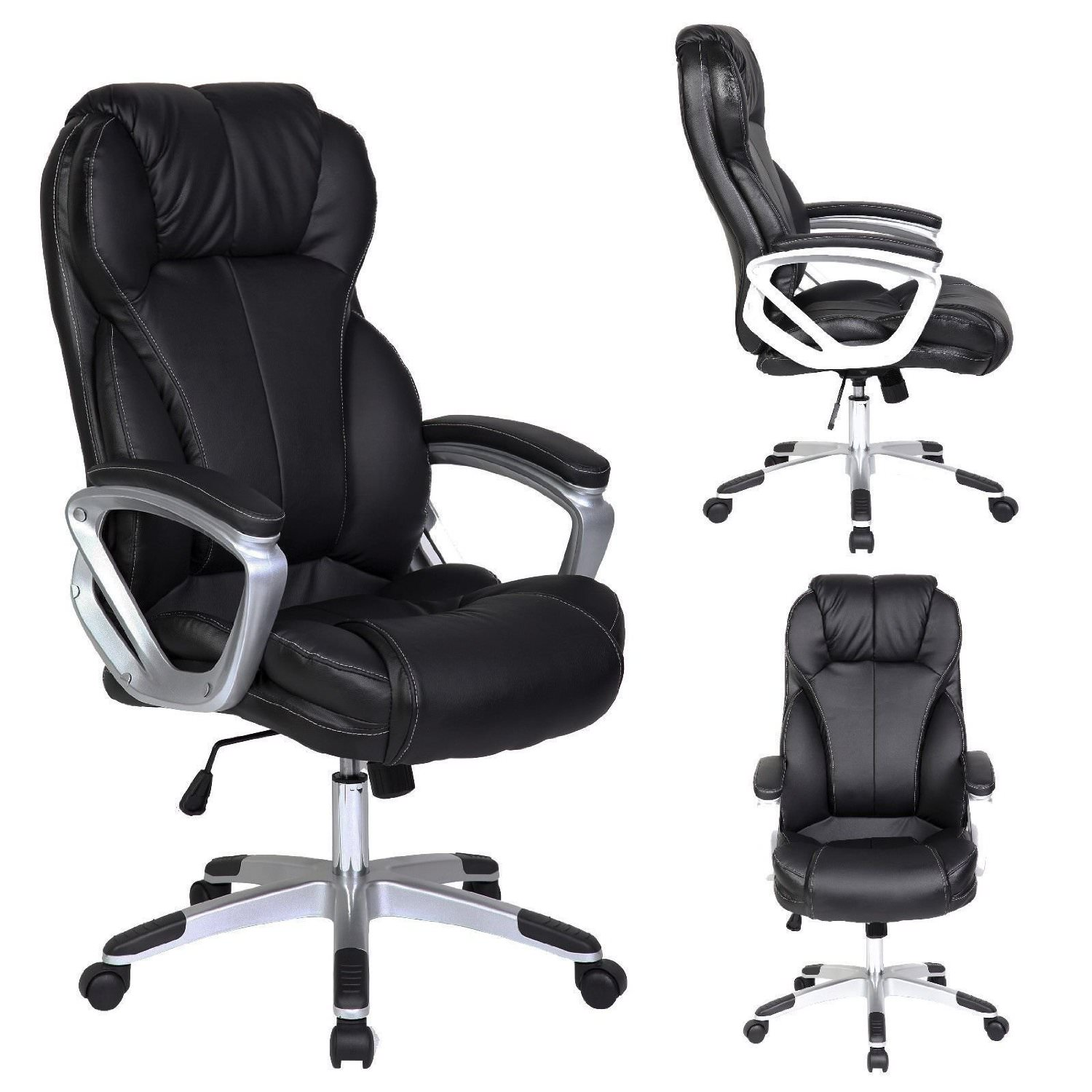 Office Chair Designer Intended 2xhome Modern High Back Tall Ribbed Pu Leather Swivel Tilt Adjustable Chair Designer Boss Executive