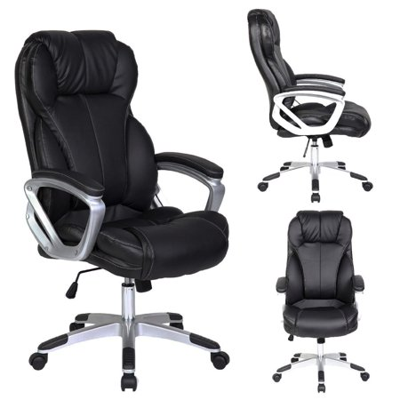 Basyx Executive Conference Table (2xhome - Modern High Back Tall Ribbed PU Leather Swivel Tilt Adjustable Chair Designer Boss Executive Management Manager Office Conference Room Work Task Computer (Big & Tall -)