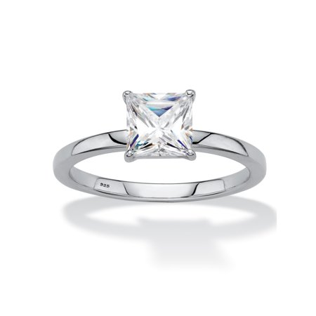 Created White Opal Solitaire (Princess-Cut Created White Sapphire Solitaire Engagement Ring 2 TCW in Platinum over Sterling Silver)