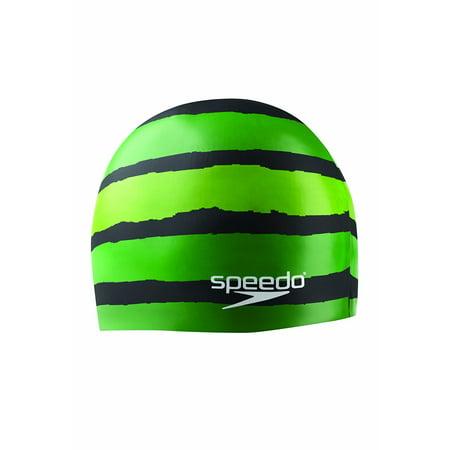 Speedo Silicone 'Flash Forward' Swim Cap, Adult, Black/Green Speedo Silicone Cap