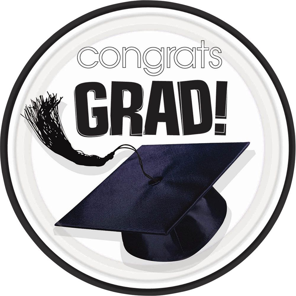 "Congrats Grad White 9"" Luncheon Plates (18 Pack)- Graduation Party"