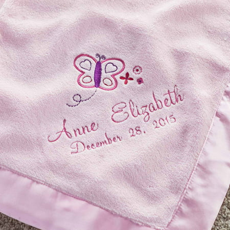Personalized Pretty Butterfly Pink Baby Blanket