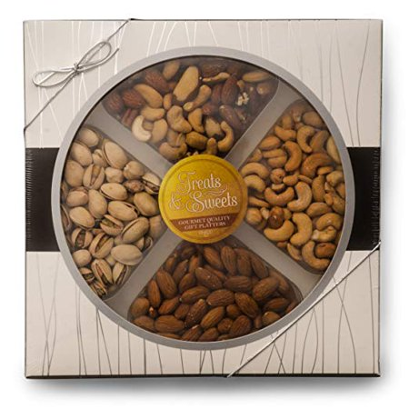 Deluxe Gourmet Brownies - Mother's Day / Assorted Nuts / Fancy Salted Mixed Nuts, Large Deluxe Kosher Salted Pistachios, Salted Cashews, Raw Almonds, Salted, Gourmet Box W/Silver Ribbon