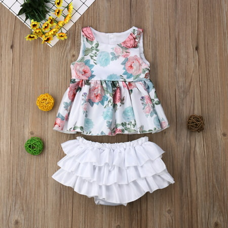 Tutu Bloomers Outfit Baby Girls Floral Sleeveless Tank Top Ruffle Shorts Clothes Set