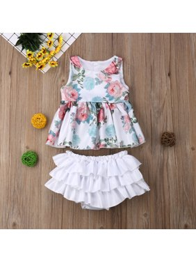 5cab329e4856 Product Image Tutu Bloomers Outfit Baby Girls Floral Sleeveless Tank Top  Ruffle Shorts Clothes Set. Gaono
