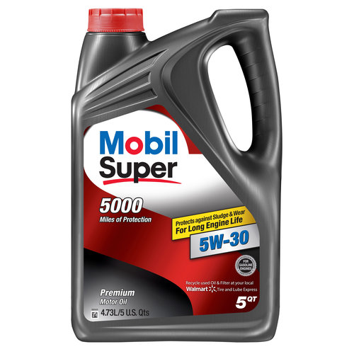 Mobil Super 5W-30  Conventional Motor Oil, 5 qt.
