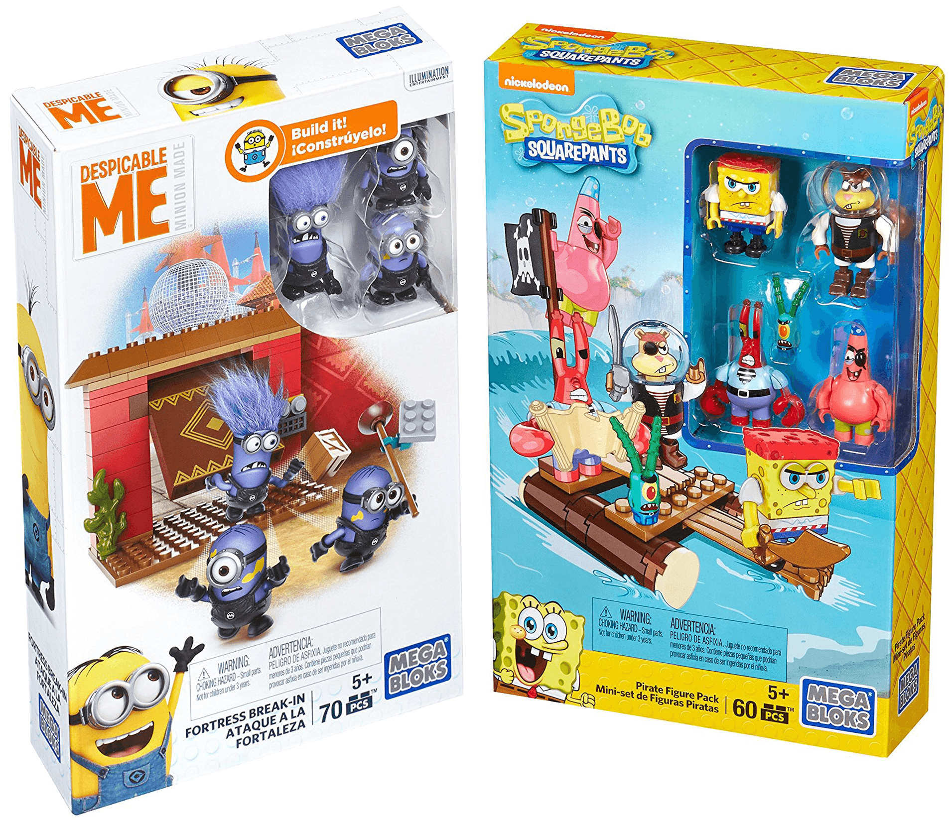 Mega Bloks Figure Despicable Me Minions Fortress Break-In + Spongebob Squarepants Pirate... by