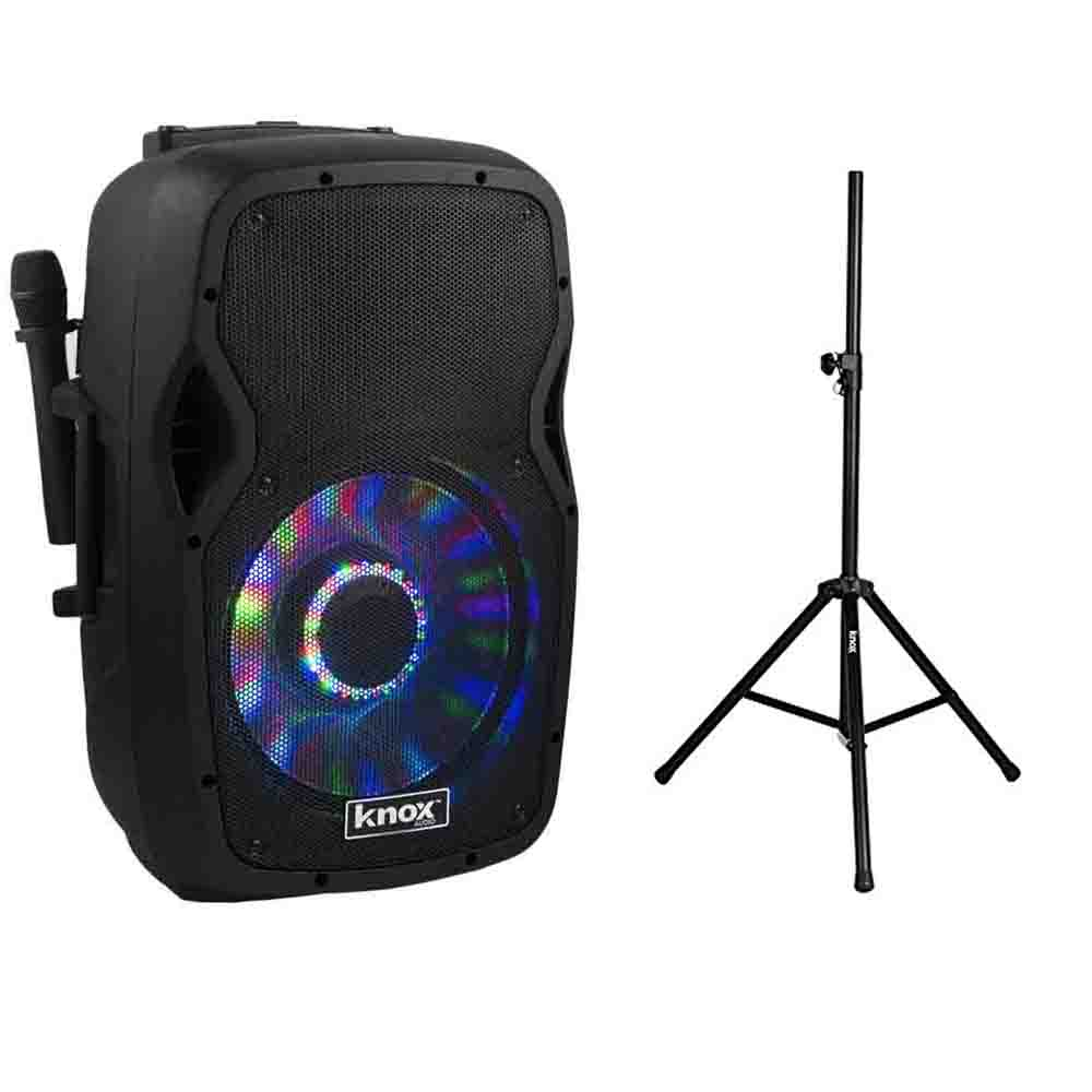 Knox 100-Watt 12-Inch Portable Bluetooth PA Speaker and Karaoke Party Speaker System w/ Steel Speaker Stand