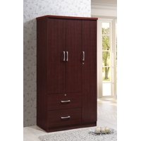 Hodedah 3 Door Bedroom Armoire with Drawers, Multiple Finishes
