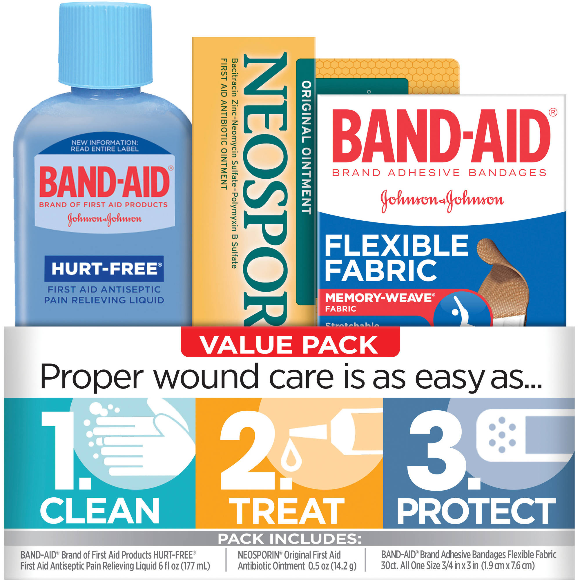 Band-Aid Brand Clean, Treat, and Protect Value Pack, 3 pc