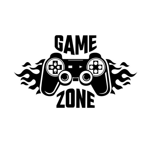 One opening Steel Carved Game Zone Wall Stickers Mural Wallpaper for Kids Boys Room Decals Gaming Poster Decor