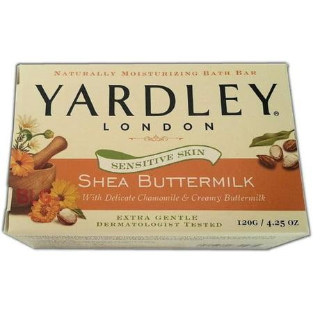 Yardley London Sensitive Skin Shea Buttermilk Bar Soap, 4.25 oz (Pack of