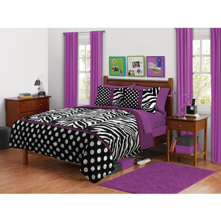 your zone zebra purple dot bedding comforter set