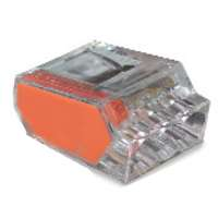 PushGard 10-PC3 3-Port Push-In Connector, 22 - 12 SOL, 600 V, Polycarbonate, Orange/Clear