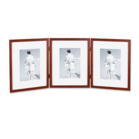 Walnut Wood 8x10 Hinged Triple Picture Frame Comes With Bevel Cut