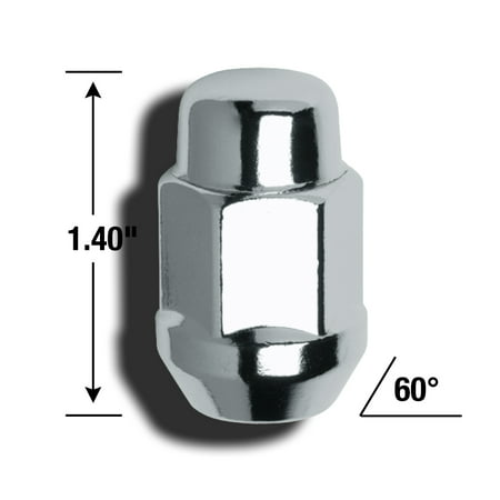 Gorilla 41188 Lug Nut Acorn Bulge 1/2 Inch x 20 Thread Size; 60 Degree Conical; For Use With Steel And Aluminum Wheels; 1.4 Inch Overall Length; 3/4 Inch Hex Size; Chrome Plated; Pack Of 100 - image 1 of 1