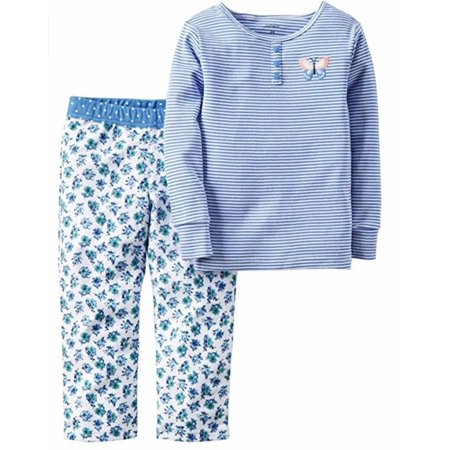 648dd05ae2 Carters Girls 2 Piece Pajamas Shirt and Pant Sleepwear (Blue Floral ...