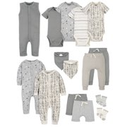 Modern Moments by Gerber Baby Boy Organic Baby Shower Layette Gift Set, 15-Piece