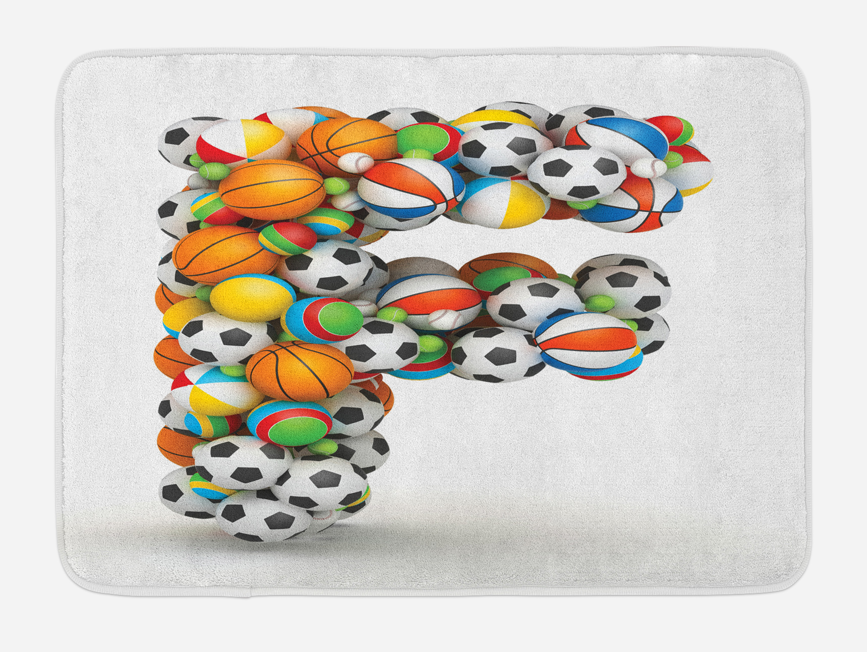 Letter F Bath Mat, Shape of Letter F with Colorful Balls for Kids Alphabet Design Sporting... by 3decor llc