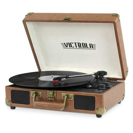 Victrola Vintage 3-Speed Bluetooth Suitcase Turntable with Speakers, Brown (Certified