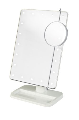 Jerdon Style JS811W LED Lighted Makeup Mirror Includes 10x Adjustable Spot Mirror, White by Jerdon Style