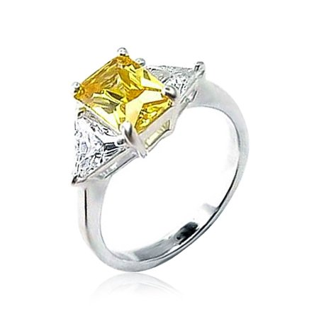 - 3CT Canary Yellow Square Cubic Zirconia Princess Cut Trillion Side Stones AAA CZ Engagement Ring 925 Sterling Silver