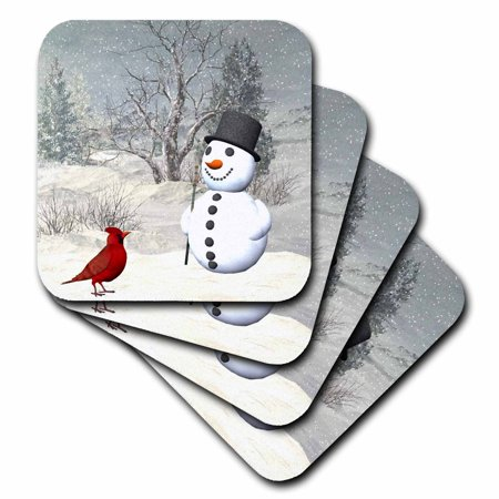 3dRose Cardinal And Snowman In Winter, Ceramic Tile Coasters, set of 4 by