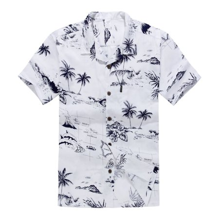 Young Adult Boy Hawaiian Aloha Luau Shirt Only in White Map and Surfer 16 Year Old