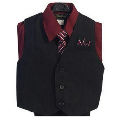 Burgundy 4 Piece Pin Striped Vest Set Boys Suit 5-20