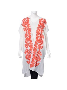 e71a7ce116bae Product Image White with Coral Red Floral Pattern 100% Viscose Swimsuit  Cover-ups Kimono For Women