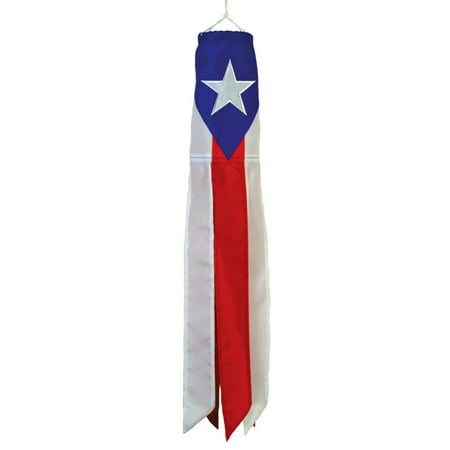 Image of In the Breeze Puerto Rico 18 Inch Windsock - Puerto Rico Flag Hanging Decoration - Colorful Outdoor Décor