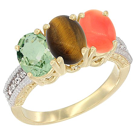 14K Yellow Gold Natural Green Amethyst, Tiger Eye & Coral Ring 3-Stone 7x5 mm Oval Diamond Accent, sizes 5 - 10