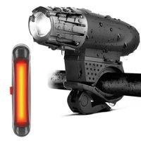 HERCHR Outdoor Waterpoof Plastic USB Rechargeable Bike Front Head Light Bicycle Tail Safety Lamp Mount Kit,Bike Front Lamp, Bike Tail Light