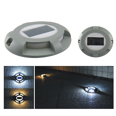 Solar Deck Lights 4-LED Driveway Light Aluminum Waterproof Outdoor Path Road Stairs Step Ground Lamp for Pathway Garden Patio Yard Decoration - image 4 de 7
