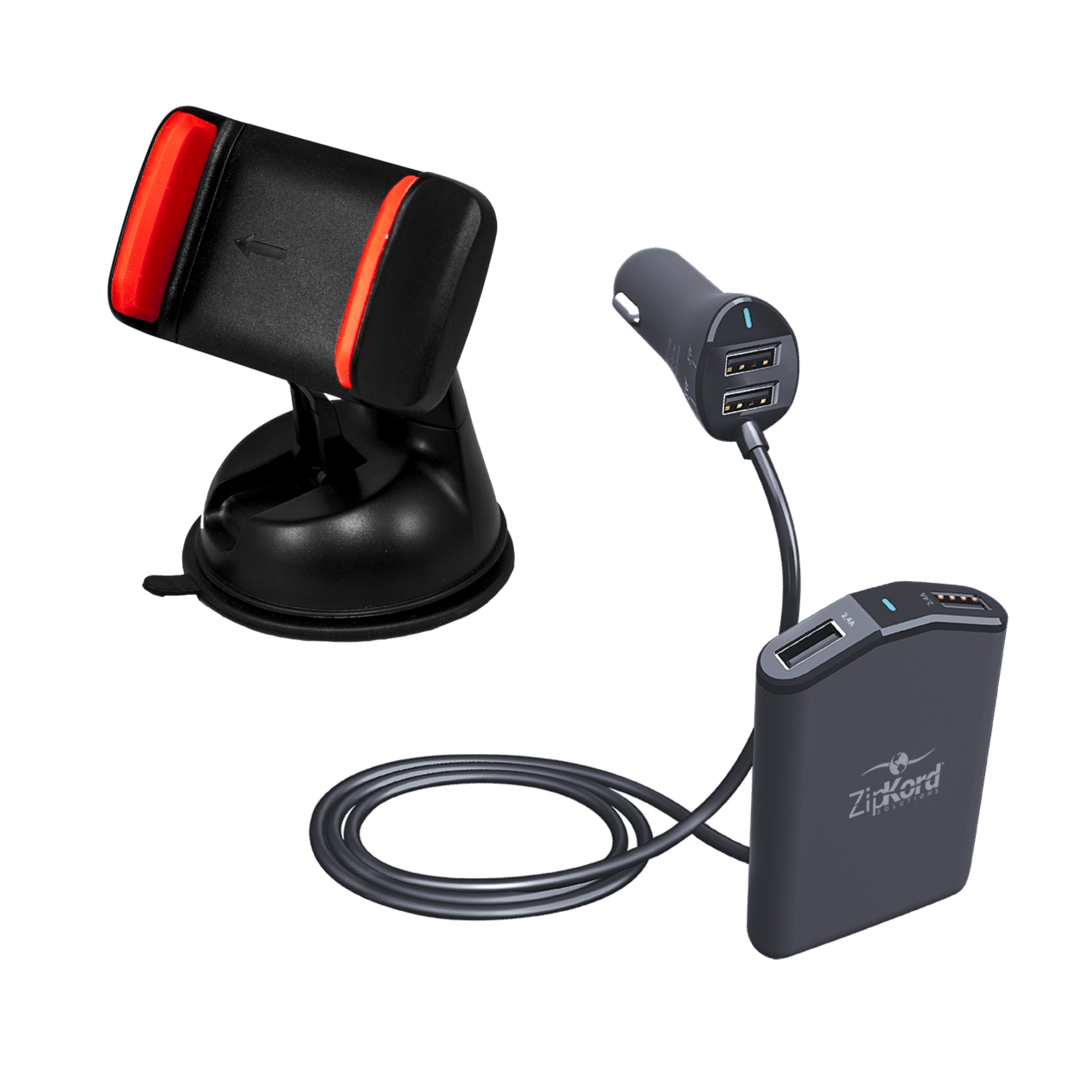 Zipkord 4 USB Port Dual Zone Charger with Universal Vent Mount