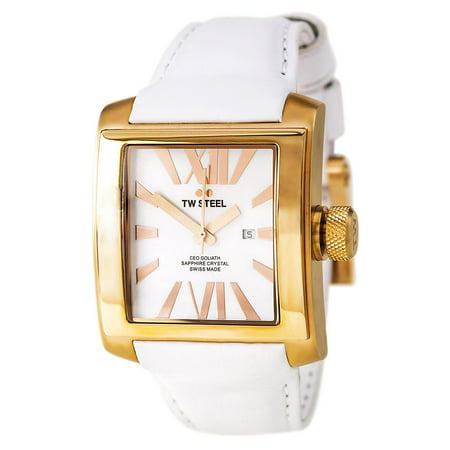 CE3016 Men's CEO Goliath MOP Dial Rose Gold Steel White Leather Strap Watch