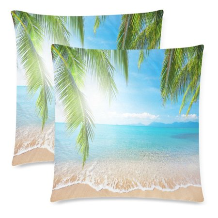 YKCG 2 Pack Summer Tropical Beach Palm Tree Leaves Pillowcase Cushion Cover 18x18 Twin Sides, Ocean Sea Coconut Palm Sand Sky Cotton Zippered Throw Pillow Case Shams Decorative ()