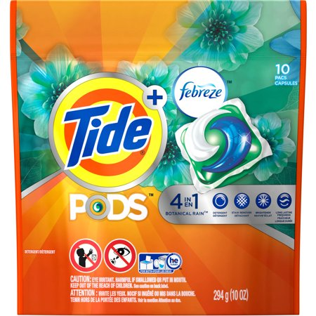 Tide PODS Plus Febreze, Botanical Rain, HE Turbo Laundry Detergent Pacs, 10 count