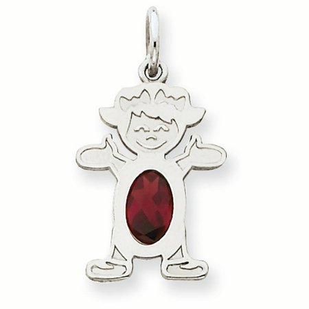 14K White Gold 6 x 4 Oval Genuine Garnet January Birthstone Girl Charm Pendant
