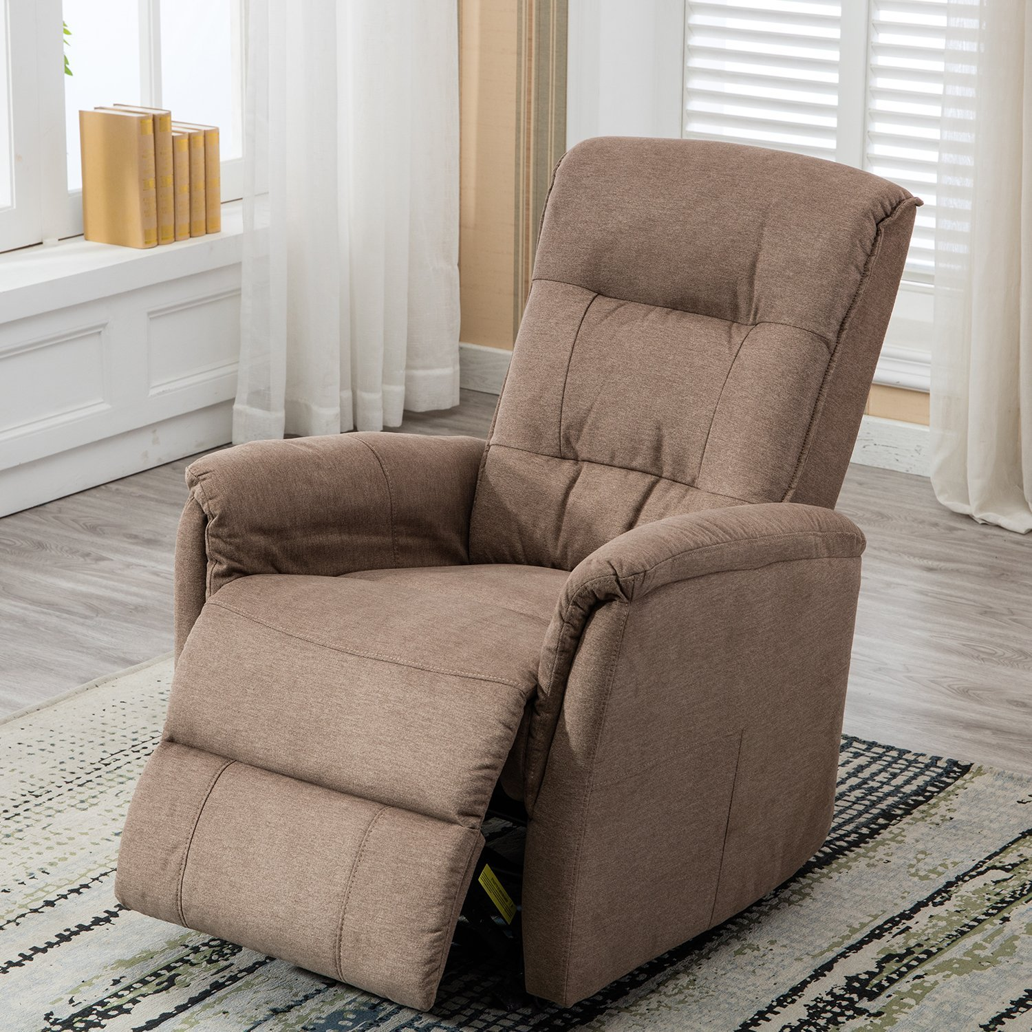 BONZY Glider Recliner Chair with Super Comfy Gliding Track Overstuffed Backrest, Comfy Recliner Sofa - Smoke Gray