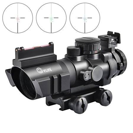 Hunting Optics Rifle Scope Gun Scope 4x32 Tactical Red Green Blue Illuminated Reticle Scope with Fiber Optic