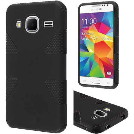 Samsung Galaxy Core Prime, Prevail LTE Case - Wydan Dynamic Hybrid Impact Tuff Hard Soft Case Cover Black on Black (Samsung Galaxy Prevail Cases)
