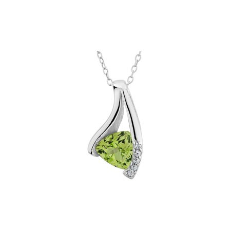 Faceted Peridot Pendant (Peridot Pendant Necklace 1/2 Carat (ctw) in Sterling Silver with Chain)
